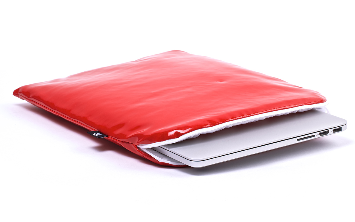 Laptop sleeve red leather red for Housse macbook 13