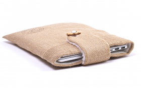 Burlap Laptop Sleeve - Funky Farmer
