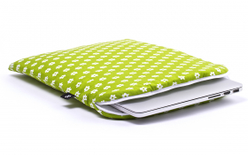 Green laptop sleeve - Spring Field