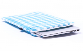Blue checkered Macbook Sleeve - Heavenly Delight