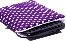 Purple NetBook sleeve - Happy Flower